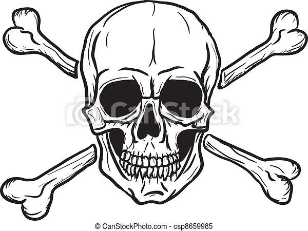 Skull black over white - csp8659985