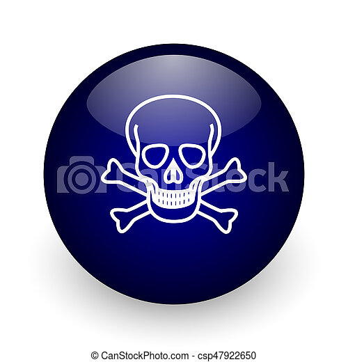 Skull blue glossy ball web icon on white background. Round 3d render button. - csp47922650