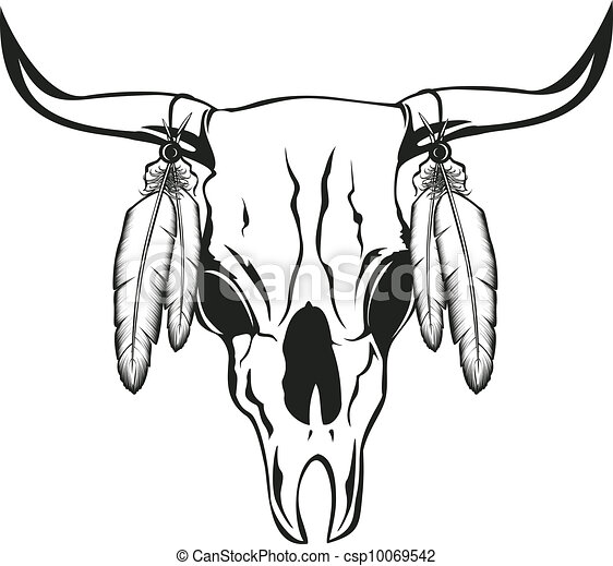 Vector illustration skull bull with feathers.
