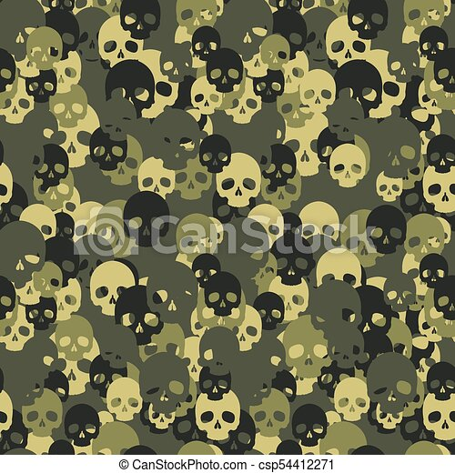 skull camo seamless pattern green camouflage vector background for