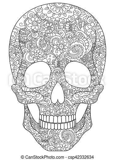 Skull coloring vector for adults. Skull coloring book for adults ...