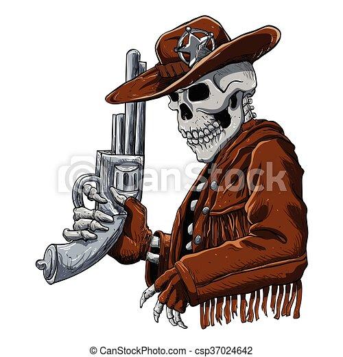 skull cowboy skeleton cowboy with revolver