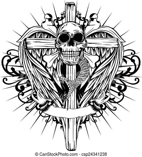 Skull Cross Wings Abstract Vector Illustration Bones