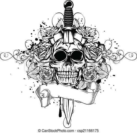 skull dagger rose - csp21166175