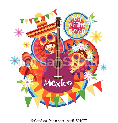 Skull day of dead concept traditional mexican halloween dia ...