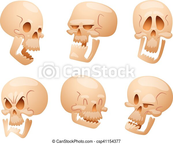 Skull face illustration isolated on white background. - csp41154377