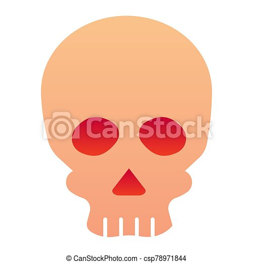 Skull flat icon. Deadman scary skeleton head. Halloween party vector design concept, gradient style pictogram on white background. - csp78971844