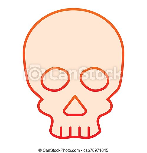 Skull flat icon. Deadman scary skeleton head. Halloween party vector design concept, gradient style pictogram on white background. - csp78971845