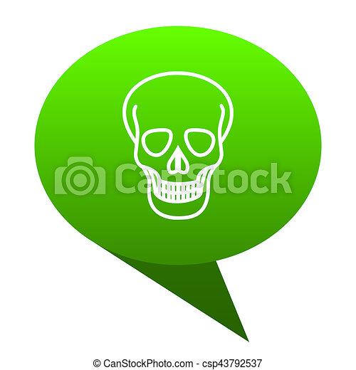 skull green bubble icon - csp43792537