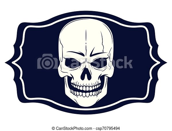 skull head drawn tattoo icon - csp70795494