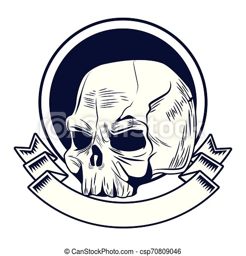 skull head drawn tattoo icon - csp70809046