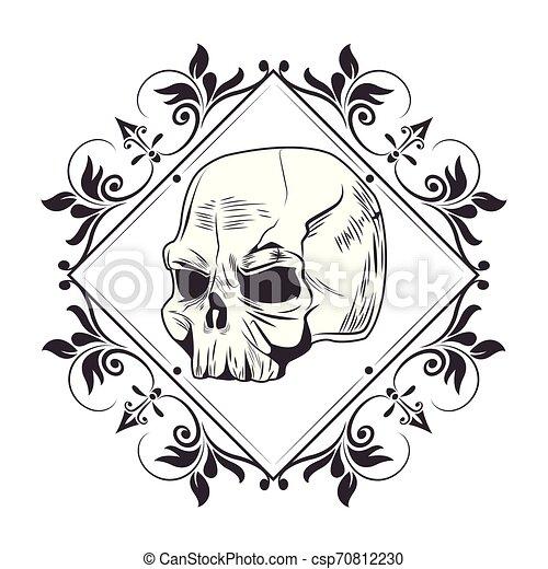 skull head drawn tattoo icon - csp70812230