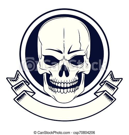 skull head drawn tattoo icon - csp70804206
