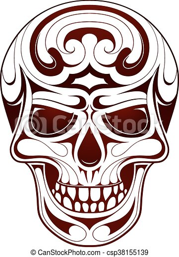 Skull head tattoo - csp38155139