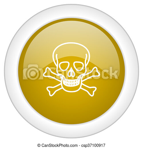 skull icon, golden round glossy button, web and mobile app design illustration - csp37100917