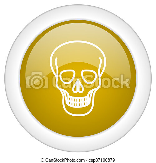 skull icon, golden round glossy button, web and mobile app design illustration - csp37100879