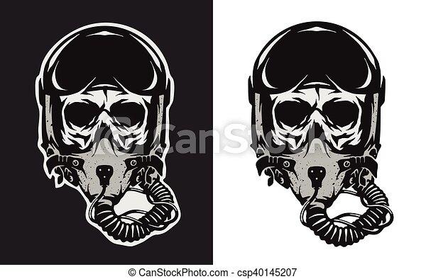 Skull in combat pilot helmet. - csp40145207
