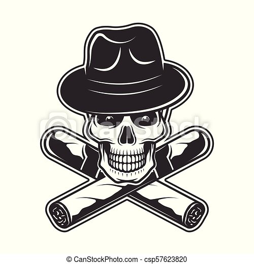 Skull in gangster hat and two crossed cigars vector illustration in ... 9b90634b2ba2