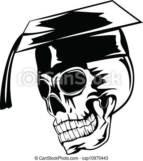 skull in graduation cap - csp10970443