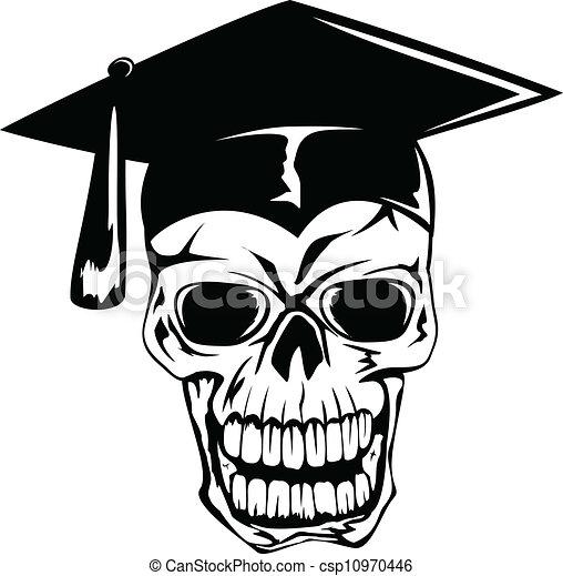 skull in graduation cap - csp10970446