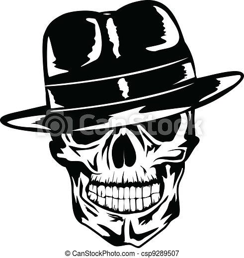 skull in hat gangster - csp9289507