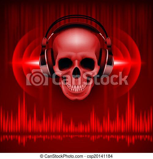 Skull in headphones. Disco background - csp20141184