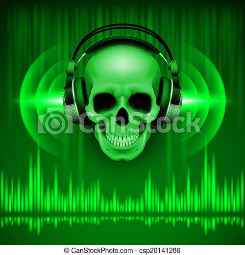 Skull in headphones. Disco background - csp20141286