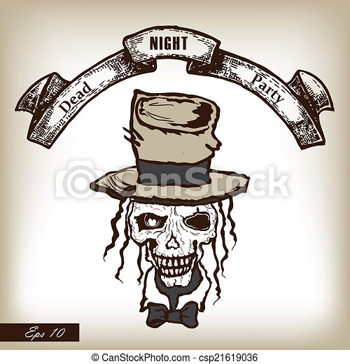 Skull in heat. Party invitation in horror stylle. Hand drawn ill - csp21619036