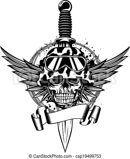 Skull in helmet, wings and dagger - csp19499753
