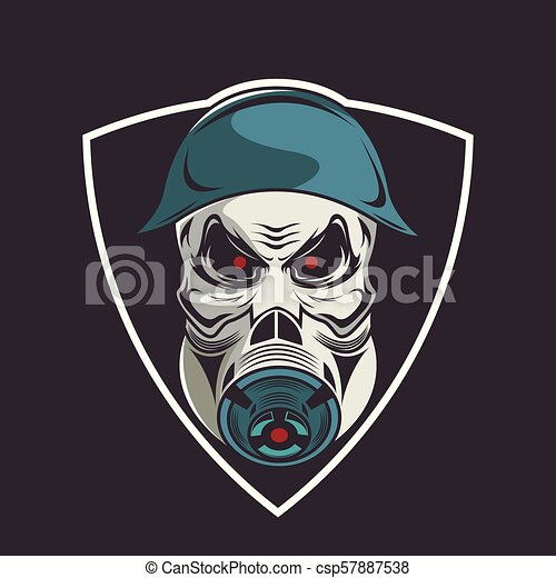 Skull In Military Helmet And Gas Mask Logo For Business