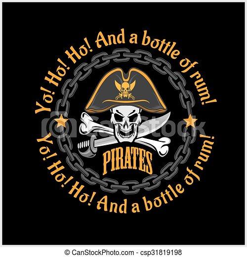 Skull in pirate hat - Jolly Roger - csp31819198