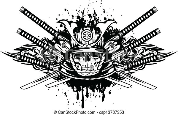 skull in samurai helmet and crossed samurai swords - csp13787353