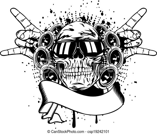Skull In Sunglasses And Hand Gesture 19242101