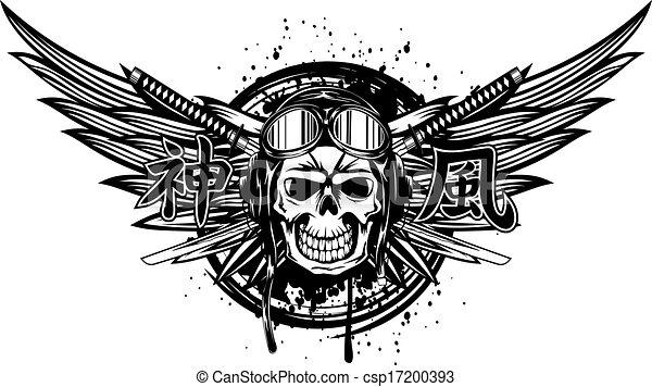 skull kamikaze in helmet - csp17200393