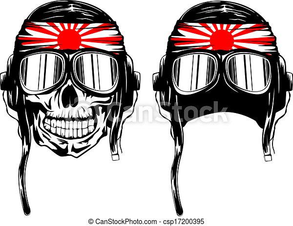 skull kamikaze in helmet - csp17200395