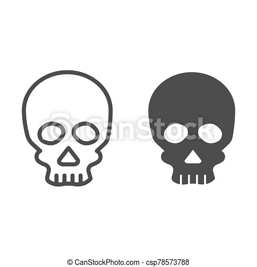 Skull line and solid icon. Deadman scary skeleton head. Halloween party vector design concept, outline style pictogram on white background. - csp78573788