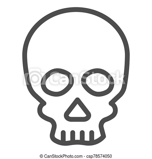 Skull line icon. Deadman scary skeleton head. Halloween party vector design concept, outline style pictogram on white background. - csp78574050