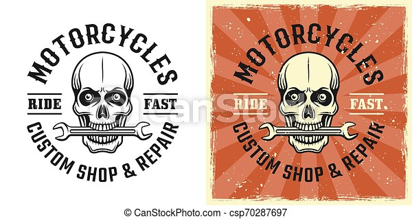 Skull mechanic with wrench in teeth vector emblem - csp70287697