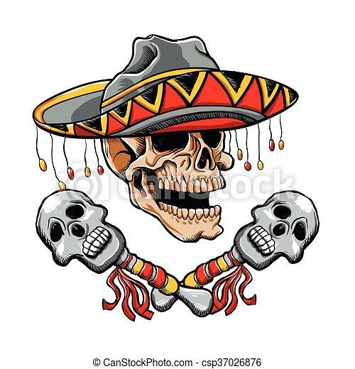 Skull Mexican - csp37026876
