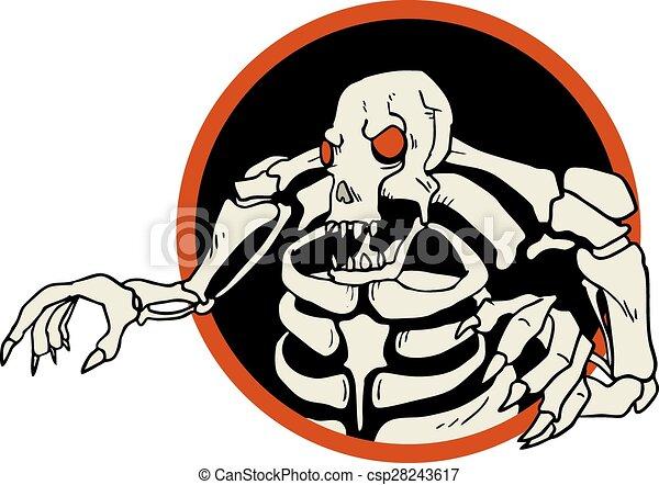Line Drawing Monster : Creative design of skull monster circle symbol vector clip art