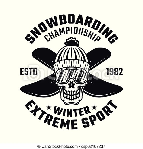 Skull of snowboarder in knitted hat and two boards - csp62187237