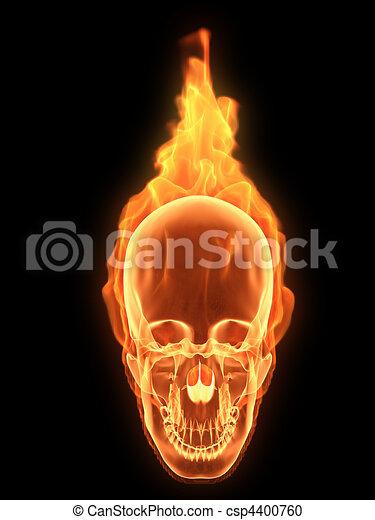Skull on fire 3d rendered illustration of a burning human stock skull on fire csp4400760 voltagebd Choice Image