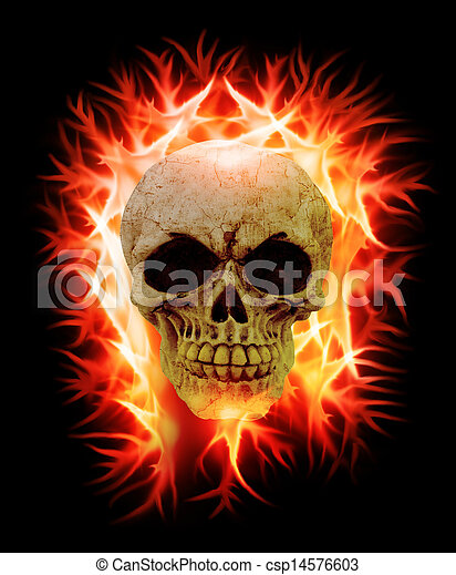 An human skull on fire on a black background stock photography skull on fire csp14576603 voltagebd Choice Image