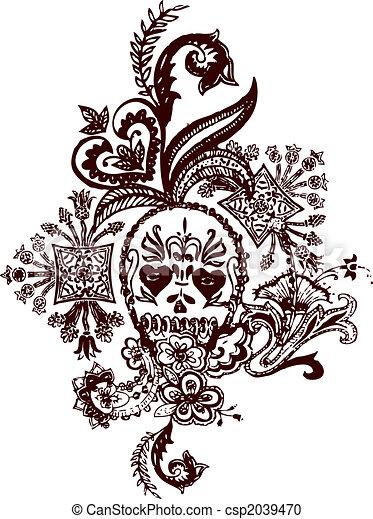 Skull paisley rock tattoo - csp2039470