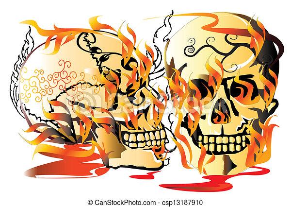 7048a95150576 Skull-pattern-line-art. Anatomy, angel, art, background, fire, skull ...