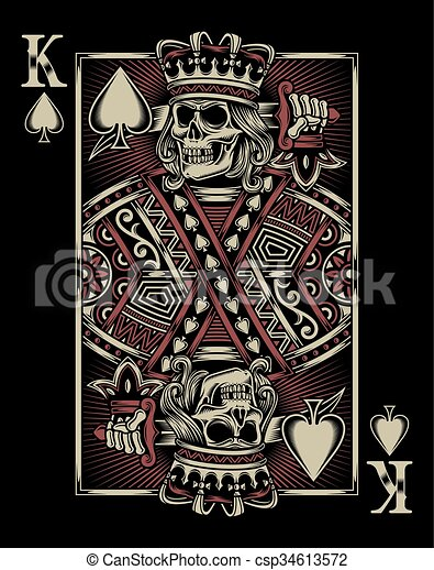 Skull Playing Card Fully Editable Vector Illustration Editable Eps Of Skull Playing Card On Black Background Image Canstock