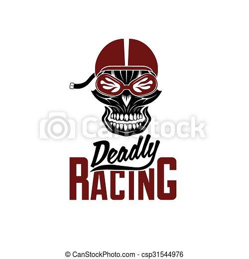Skull racer with flame glasses vintage vector design template.