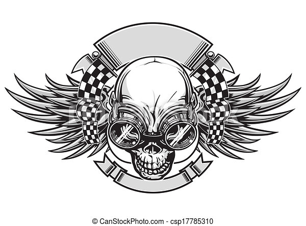 skull racing vector illustration skull with wings and goggle and