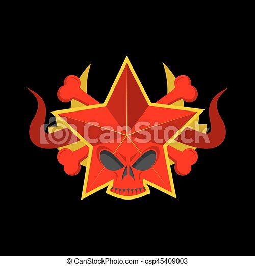 Skull Red Star Symbol Of Specter Of Communism Ussr Emblem Of Death