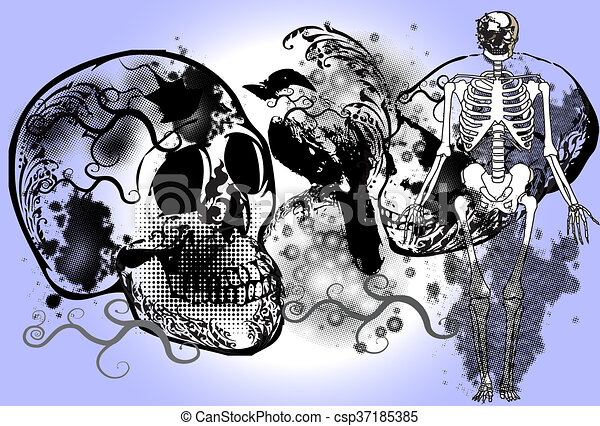 skull-rock-art - csp37185385